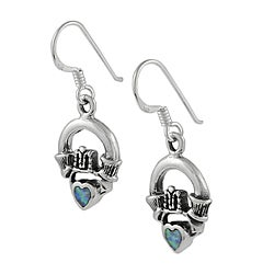 Journee Collection  Sterling Silver Claddagh Created Opal Heart Earrings