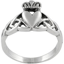 Journee Collection  Sterling Silver Claddagh Design With Fancy Band - Thumbnail 1