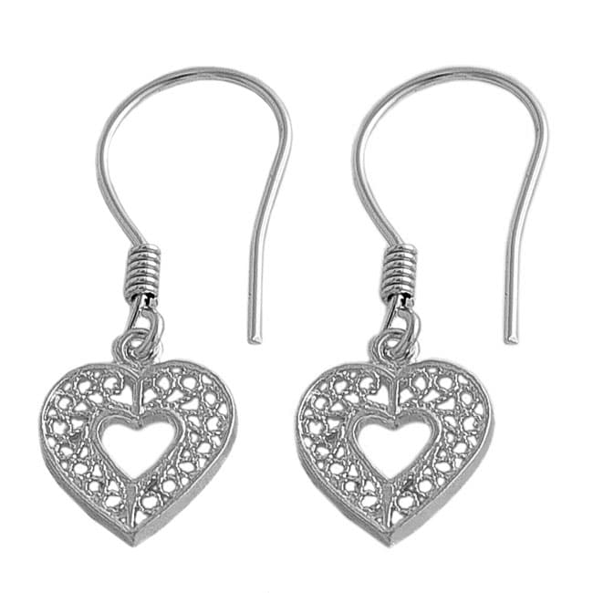 Fremada Sterling Silver Filigree Heart Earrings