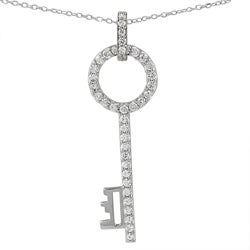 Journee Collection  Sterling Silver CZ Large Key Pendant