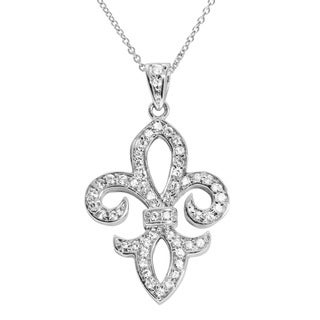 Journee Collection Sterling Silver CZ Fleur de Lis Pendant