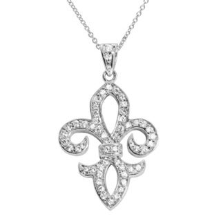 Journee Collection Sterling Silver CZ Fleur de Lis Pendant