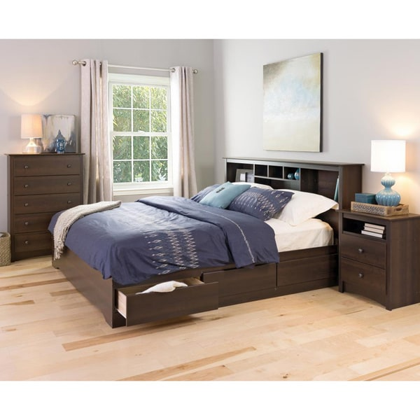 100 king bed with bookcase headboard bed frame with shelf h
