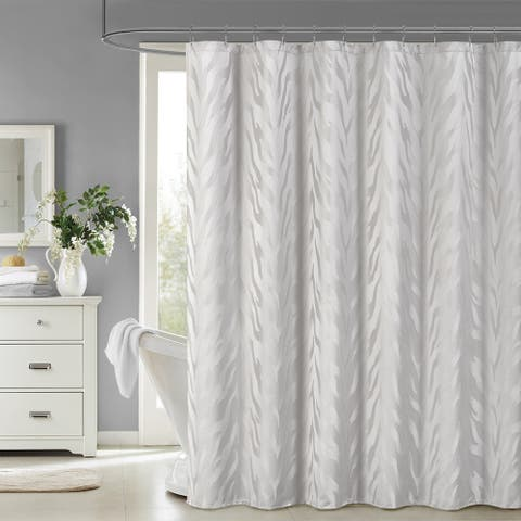 Silver Orchid Andriot Woven Jacquard Shower Curtain