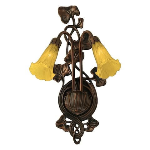 """11""""W Amber Pond Lily 2 LT Wall Sconce"""