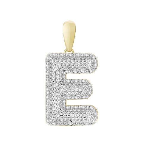 3/8 cttw Round Natural Diamond Letter 'E' Men's Initial Charm Pendant 10K Yellow Gold