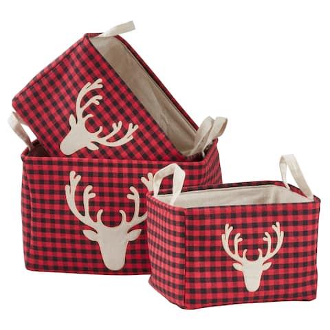 Buffalo Plaid Nesting Storage Baskets With Reindeer Design (Set of 3)