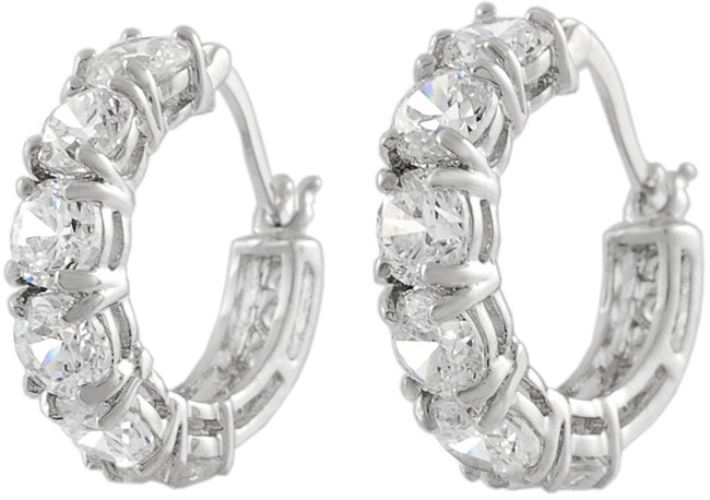 Journee Collection Sterling Silver Hoop Earrings with Six CZ Stones