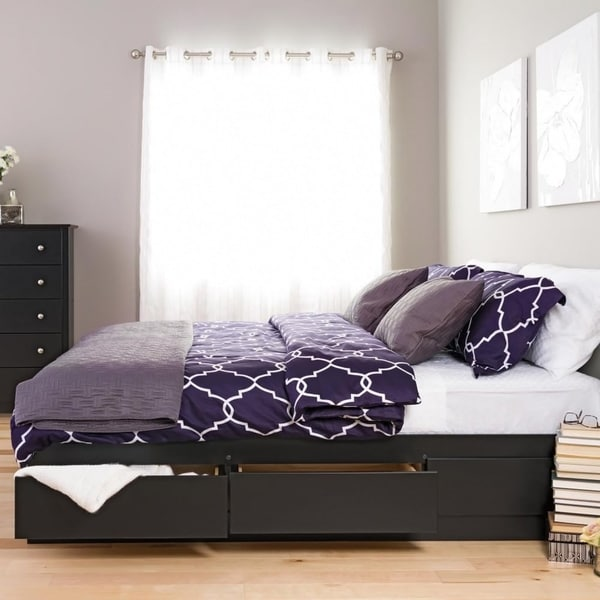 Black King Mate's Platform Storage Bed