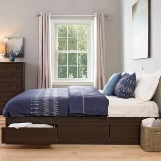 brown king 6 drawer platform storage bed - Wooden Bed Frames King Size