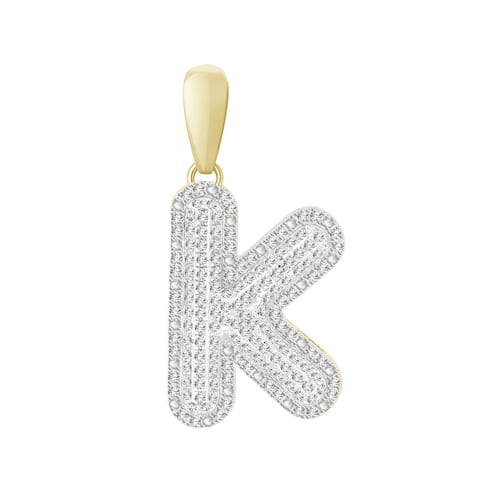 3/8 cttw Round Natural Diamond Letter 'K' Men's Initial Charm Pendant 10K Yellow Gold