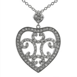 Journee Collection Sterling Silver CZ Fashion Heart Necklace