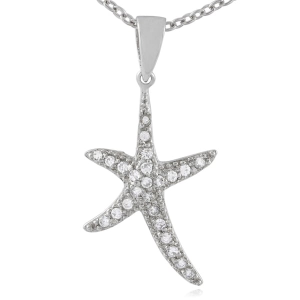 Journee Collection Sterling Silver CZ Starfish Necklace