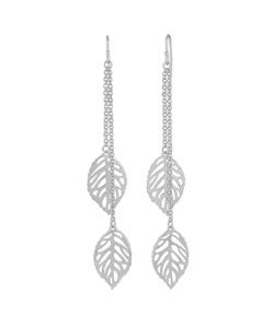 Journee Collection Sterling Silver Leaf Dangling Earrings