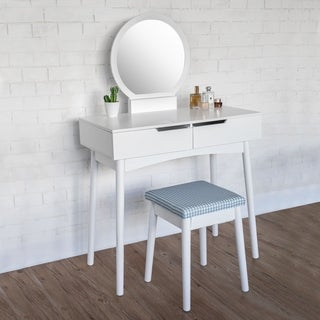Kinbor Vanity Set with Flip Top Mirror, Makeup Dressing Table with Cushioned Stool, Solid Wood Writing Desk