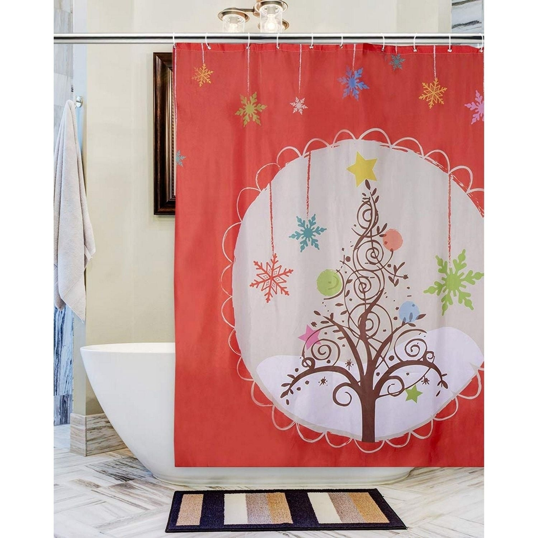 Christmas Shower Curtain W Hooks Polyester Fabric Christmas Tree Orange 71