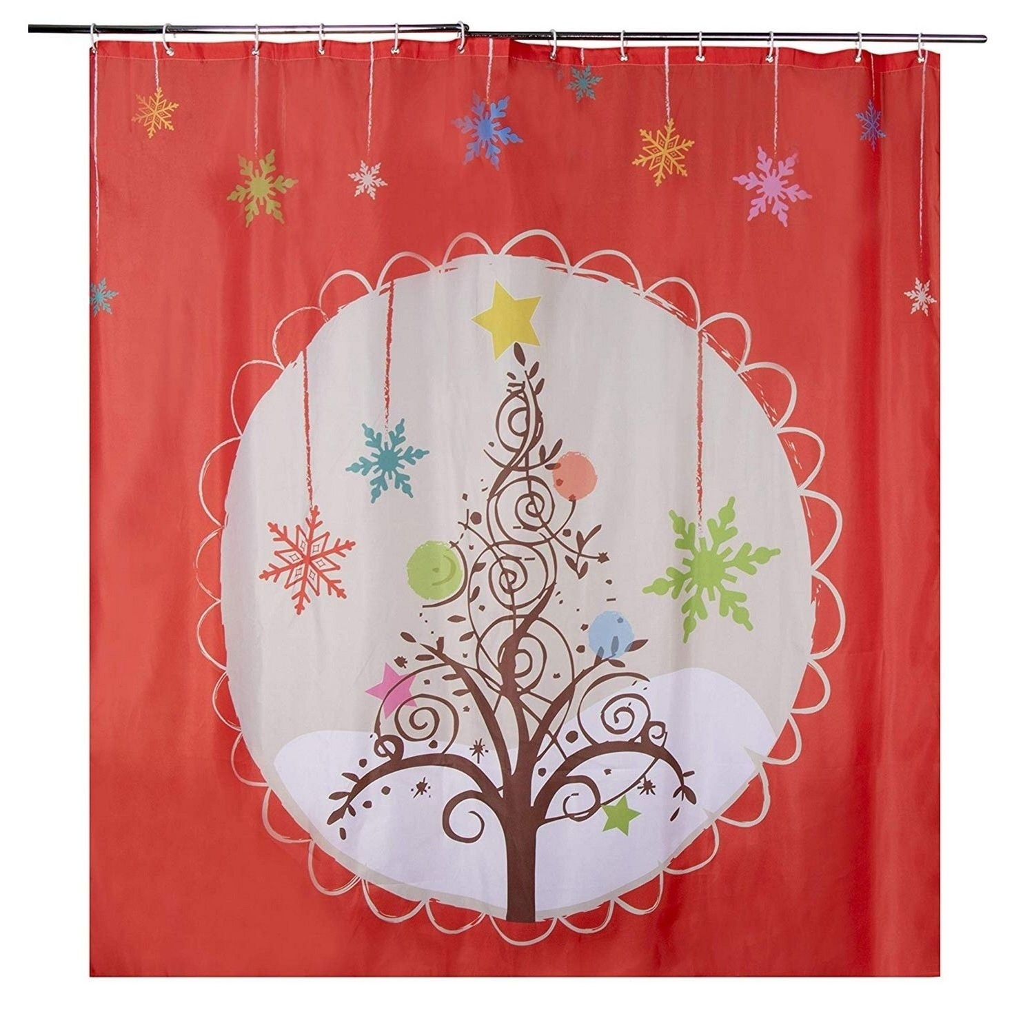 Christmas Shower Curtain W Hooks Polyester Fabric Christmas Tree Orange 71