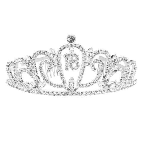 "Rhinestone Tiara for 18th Birthday Celebrate Princess Crown, 5 x 2.2 x 5.5"""
