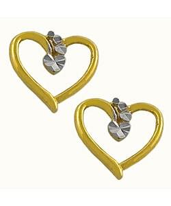 Fremada 14k Two-tone Gold Precious Hearts Earrings