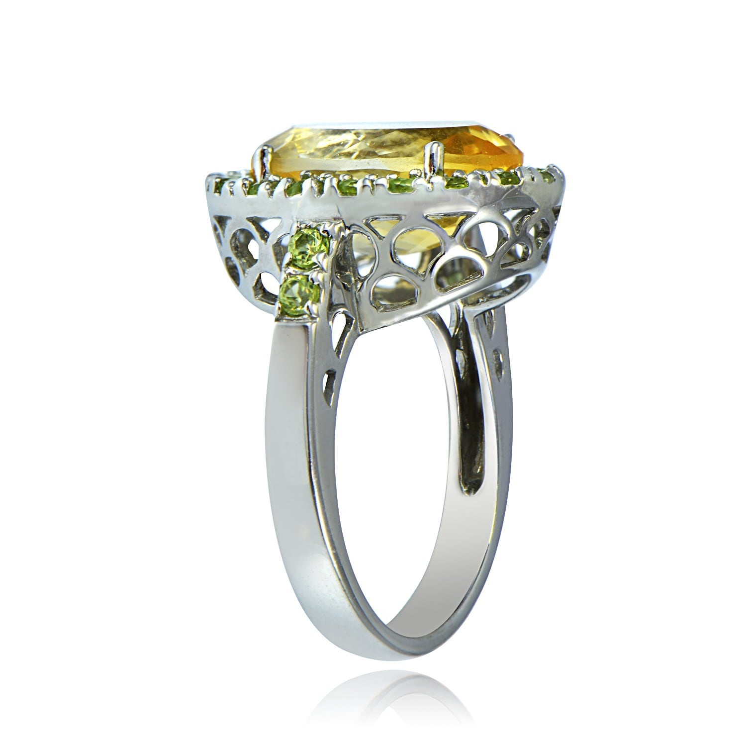 Glitzy Rocks Sterling Silver 6 5 CTW Citrine and Peridot Ring