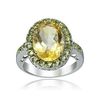 Glitzy Rocks Sterling Silver 6.5 CTW Citrine and Peridot Ring