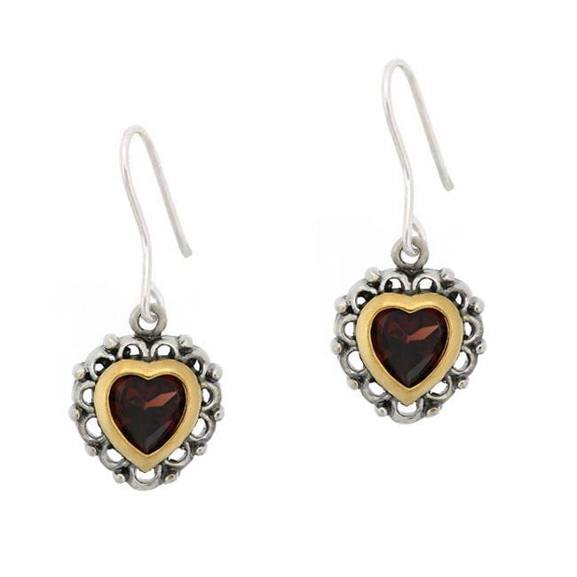 Glitzy Rocks Sterling Silver Garnet Heart Earrings