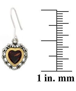 Glitzy Rocks Sterling Silver Garnet Heart Earrings - Thumbnail 2
