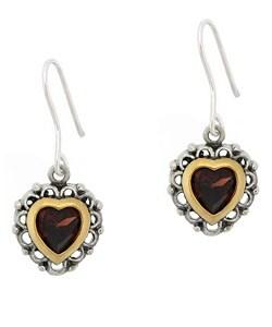 Glitzy Rocks Sterling Silver Garnet Heart Earrings - Thumbnail 0