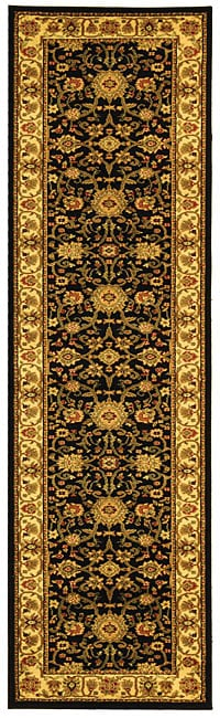 Safavieh Lyndhurst Traditional Oriental Black/ Ivory Runner (2'3 x 12')