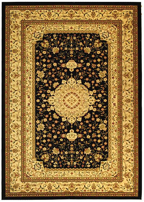 Lyndhurst Collection Mashad Black/ivory Rug (8 X 11)