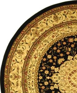 Safavieh Lyndhurst Traditional Oriental Black/ Ivory Rug (5' 3 Round) - Thumbnail 2
