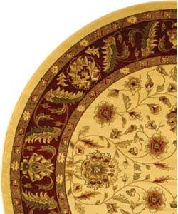 Safavieh Lyndhurst Traditional Tabriz Ivory/ Red Rug (5' 3 Round) - Thumbnail 2