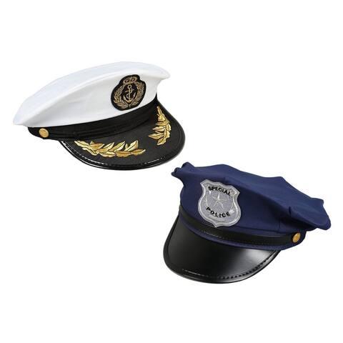 2-Piece Set Costume Headwear, Police Sea Captain Hats, Pretend Play Costume