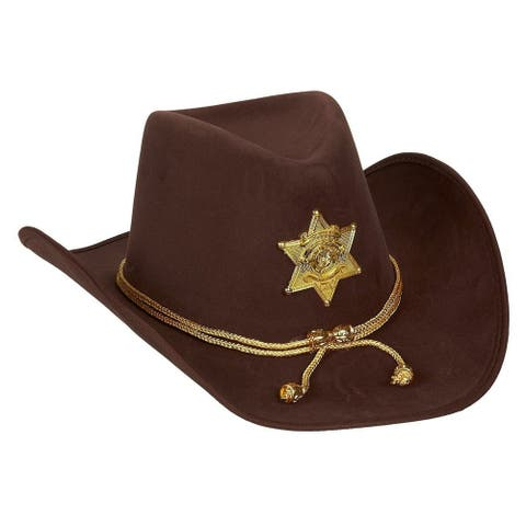 Novelty Felt Cowboy Sheriff's Hat, Party Costume with Gold Braid for Halloween