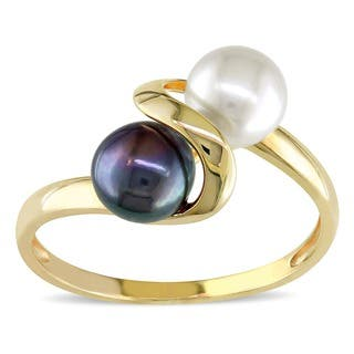 Miadora 10k Yellow Gold Black and White Cultured Freshwater Pearl Bypass Ring (5.5 - 6mm)|https://ak1.ostkcdn.com/images/products/2971162/P11130251.jpg?impolicy=medium