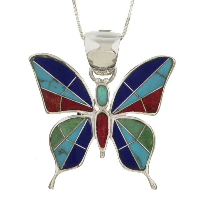 Sterling Silver Multi-stone Butterfly Necklace