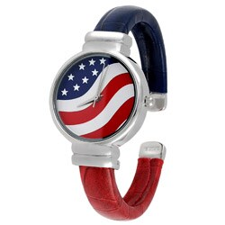 Geneva Platinum American Flag Cuff Watch