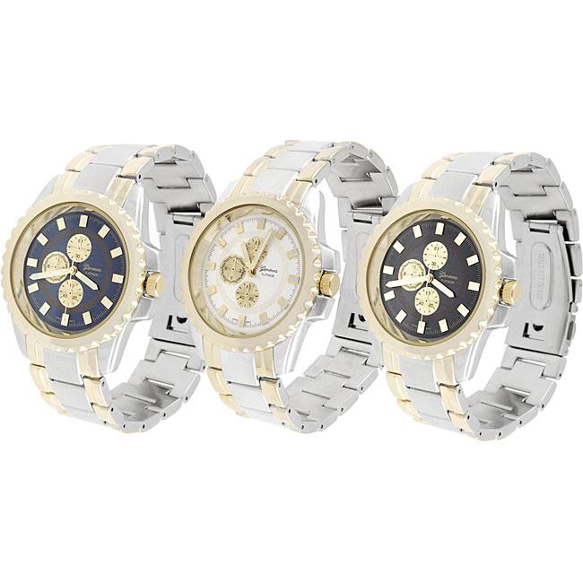 Geneva Platinum Men's Round Bezel Link Watch