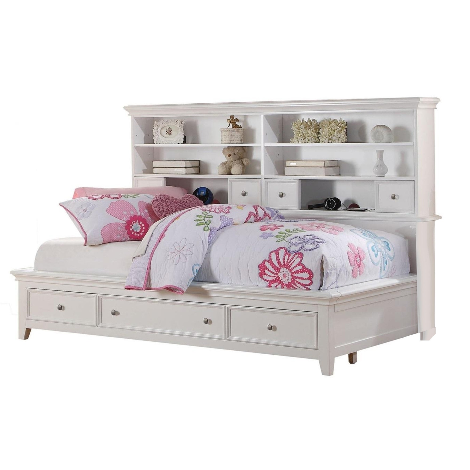 Contemporary Style Full Size Bed With Bookcase Headboard And Multiple Storage White Overstock 29713766