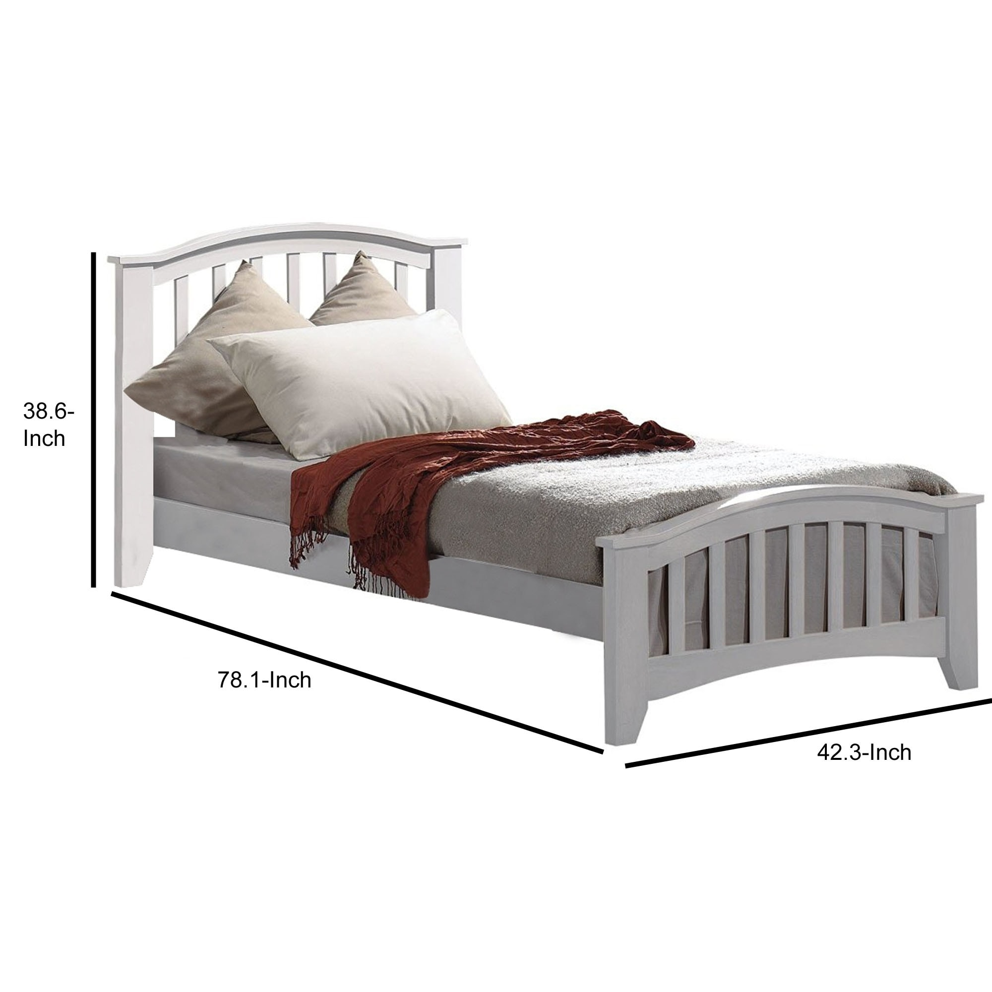 Shop Mission Style Wooden Twin Bed With Arched Slatted Headboard And Footboard White On Sale Overstock 29714110