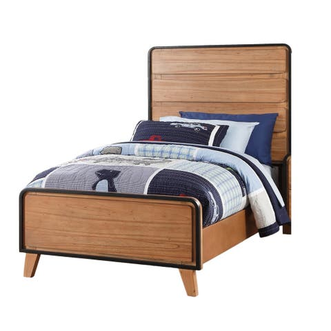 Modern Full Size Wooden Bed with Paneled Headboard, Brown and Black