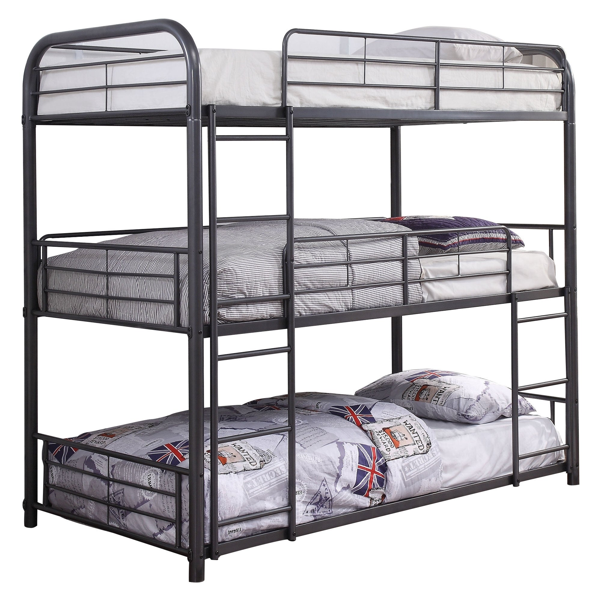 Picture of: Metal Triple Twin Over Twin Size Bunk Bed With Built In Ladders Gray On Sale Overstock 29714172
