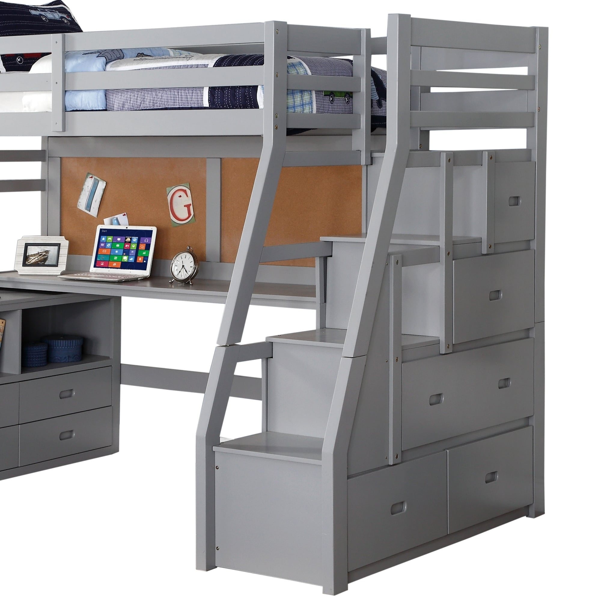 Shop Black Friday Deals On Modern Wooden Twin Size Loft Bed With Desk And Storage Chest Gray On Sale Overstock 29714176