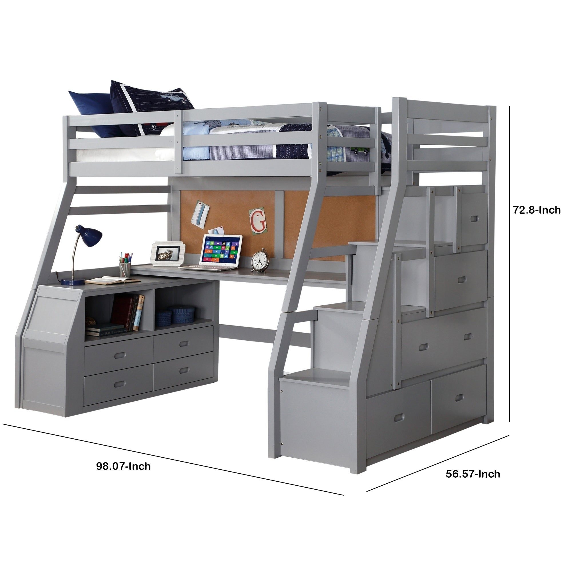 Modern Wooden Twin Size Loft Bed With Desk And Storage Chest Gray On Sale Overstock 29714176
