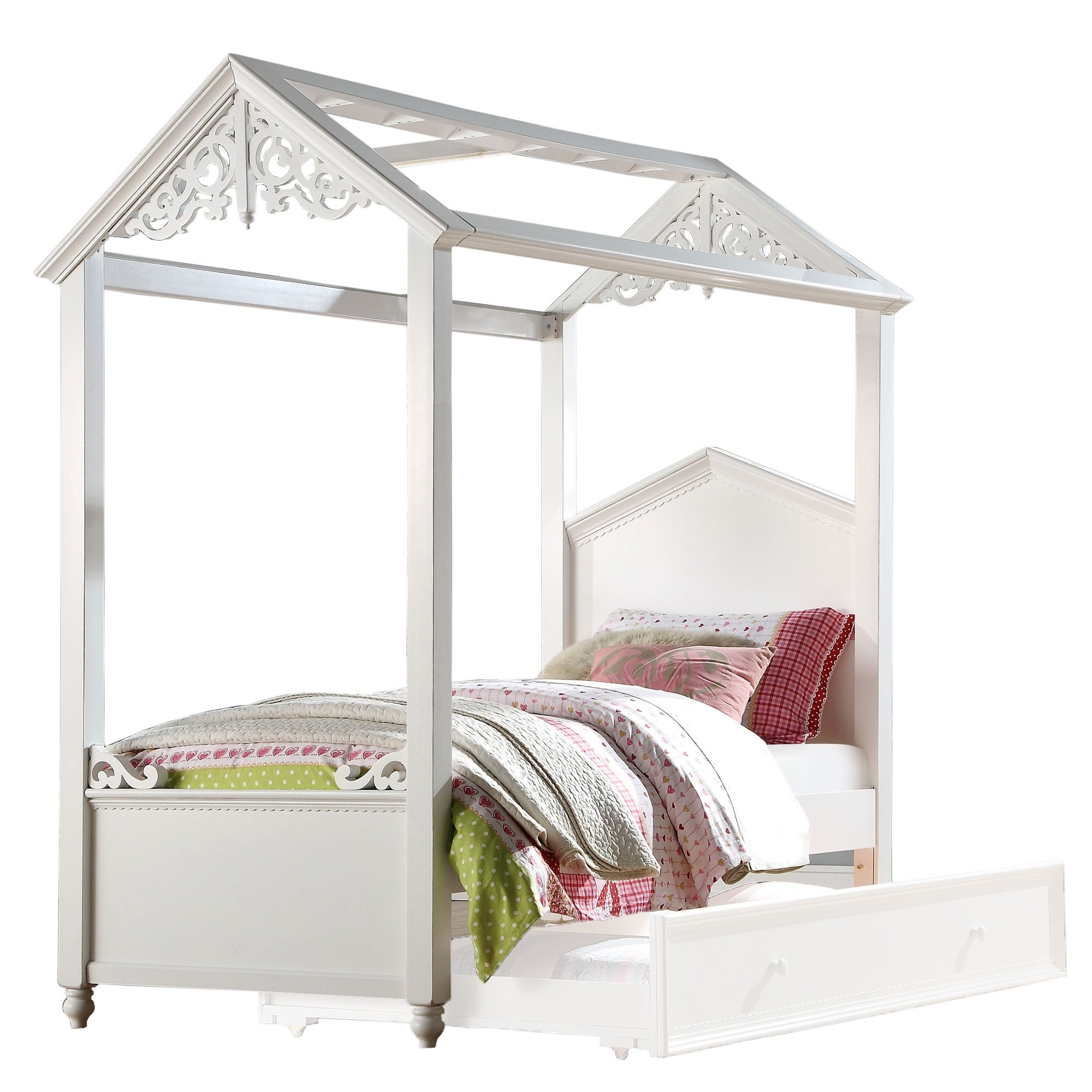 - Shop Cottage Design Twin Size Wooden Canopy Bed With Scrolled