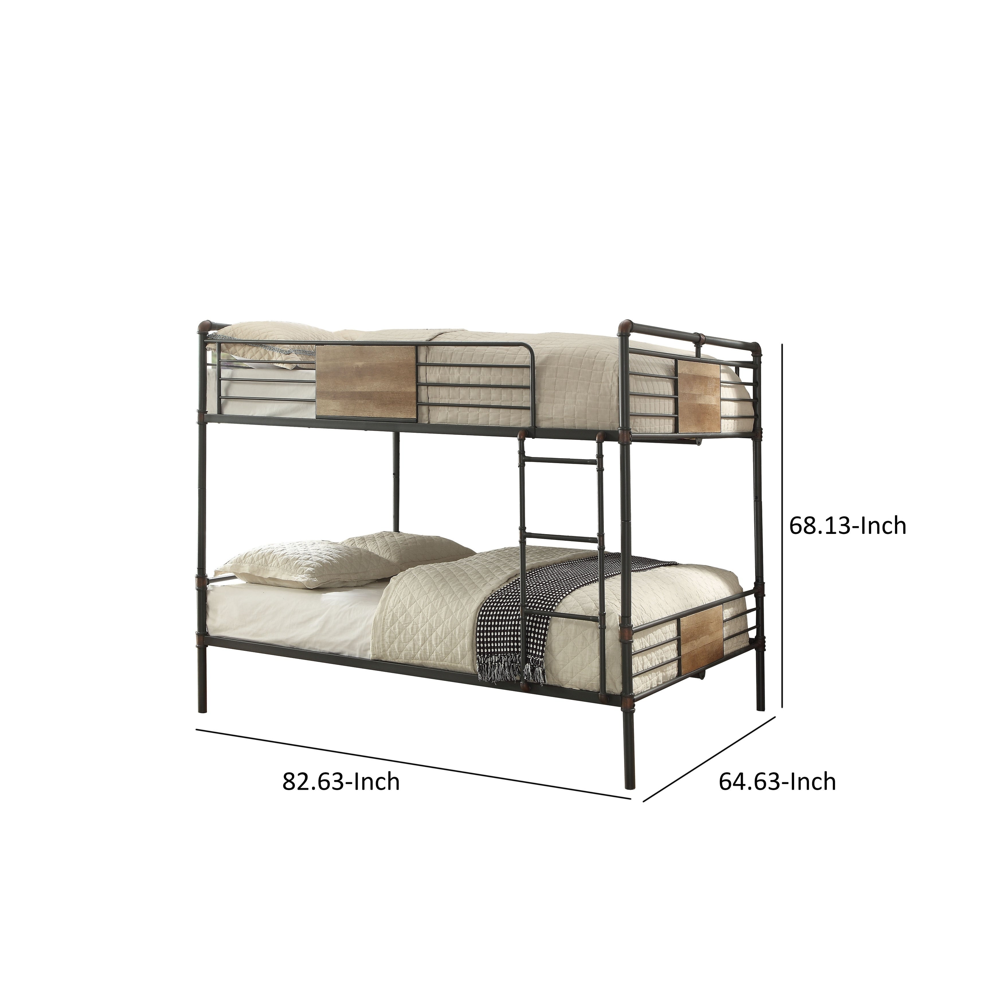 Picture of: Queen Over Queen Size Metal Bunk Bed With Ladder Black And Brown On Sale Overstock 29714214