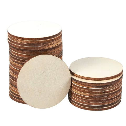 36-Count Unfinished Wood Round Circle Slices for DIY Craft, Wedding, Home Décor