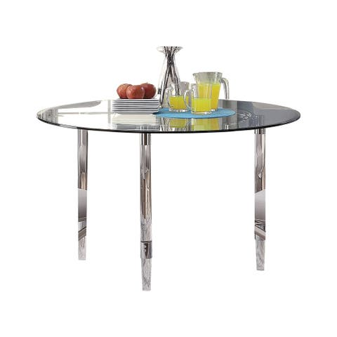 Glass Top Metal Dining Table with Acrylic Legs, Silver and Clear