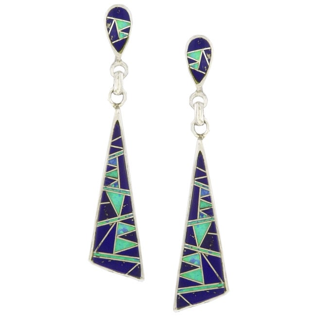 Sterling Silver Opal and Lapis Dangle Earrings