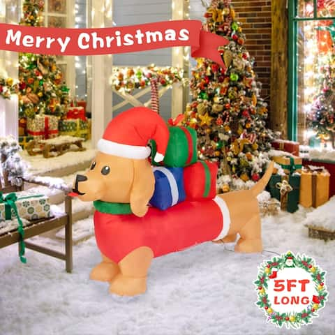 Kinbor 5FT Christmas Inflatable, Long Wiener Dog with Christmas Hat and Gift Boxes, Blown up Party Yard Decoration